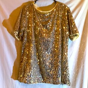 Gold sequins on off white background blouse